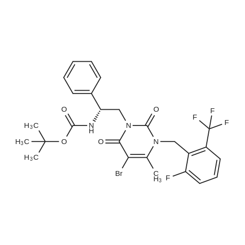 (R)-tert-Butyl (2-(5-bromo-3-(2-fluoro-6-(trifluoromethyl)benzyl)-4-methyl-2,6-dioxo-2,3-dihydropyrimidin-1(6H)-yl)-1-phenylethyl)carbamate