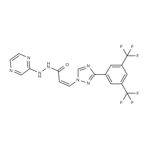 (Z)-3-(3-(3,5-Bis(trifluoromethyl)phenyl)-1H-1,2,4-triazol-1-yl)-N'-(pyrazin-2-yl)acrylohydrazide