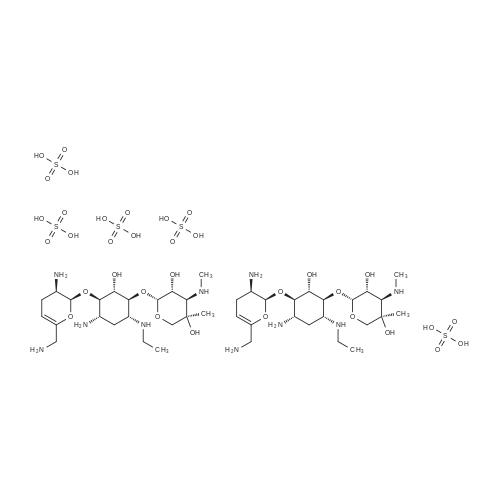(2R,3R,4R,5R)-2-(((1S,2S,3R,4S,6R)-4-Amino-3-(((2S,3R)-3-amino-6-(aminomethyl)-3,4-dihydro-2H-pyran-2-yl)oxy)-6-(ethylamino)-2-hydroxycyclohexyl)oxy)-5-methyl-4-(methylamino)tetrahydro-2H-pyran-3,5-diol sulfate(2:5)