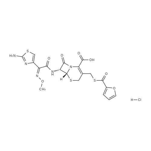 (6R,7R)-7-((Z)-2-(2-Aminothiazol-4-yl)-2-(methoxyimino)acetamido)-3-(((furan-2-carbonyl)thio)methyl)-8-oxo-5-thia-1-azabicyclo[4.2.0]oct-2-ene-2-carboxylic acid hydrochloride
