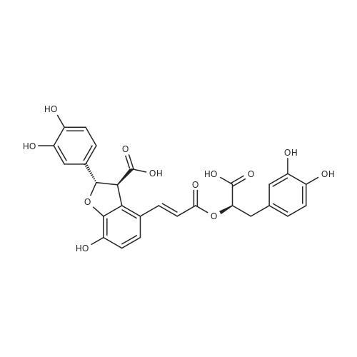 (2S,3S)-4-((E)-3-((R)-1-Carboxy-2-(3,4-dihydroxyphenyl)ethoxy)-3-oxoprop-1-en-1-yl)-2-(3,4-dihydroxyphenyl)-7-hydroxy-2,3-dihydrobenzofuran-3-carboxylic acid